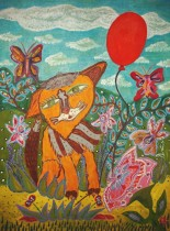 Кузьмина Мой рыжий кот 45х60 х. на карт. акр., акв. кар. 2014г