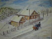 Ушакова Зима в деревне 30х40 акв. 2013г