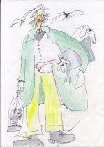 Папаша Дуллитл. Работа над ролью в спектакле «Пигмалион» Бумага, цв.карандаш.