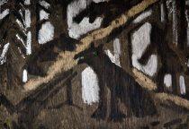 Багров Р. «Три медведя» 71х101 см. фанера, битум, аэрозольная краска, стекло.